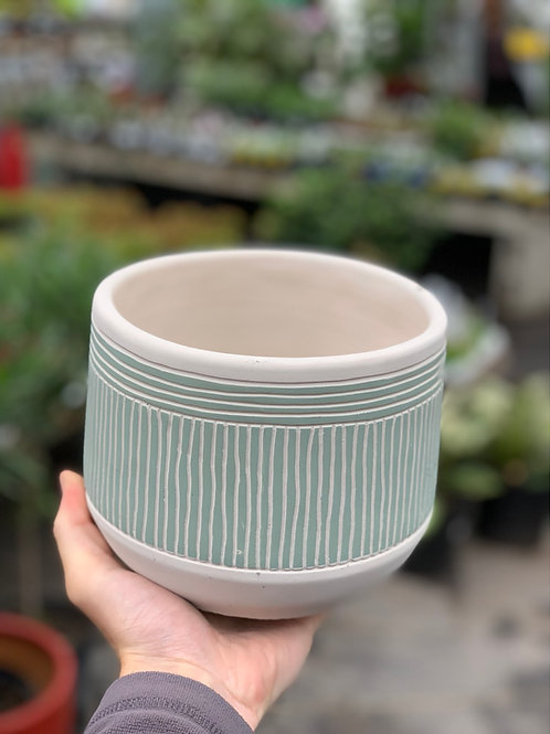 """6"""" Etched Green Pot"""