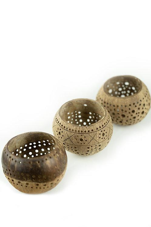 Handcrafted Coconut Bowl: Tea Light/Plant Pot Holder