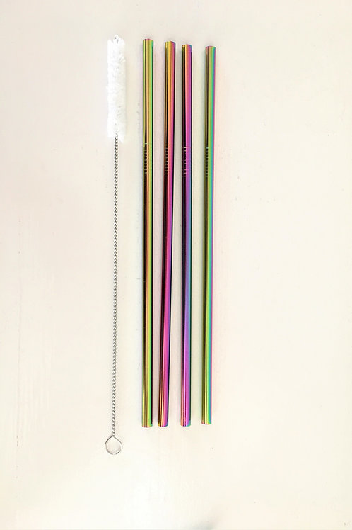 Reusable Drinking Straws: Pack of 4 with Straw Cleaner