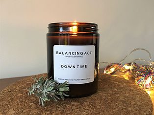 Down Time Aromatherapy Candle alight.JPG