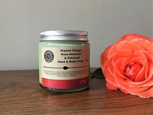 Organic Hand & Body Cream: Orange, Rose Geranium & Patchouli