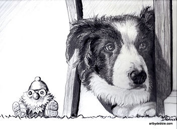 Pencil drawing of a border collie herding his toy
