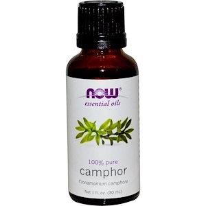 Camphor oil, 100% Pure,1 fl oz (30 ml), NOW Essential Oils