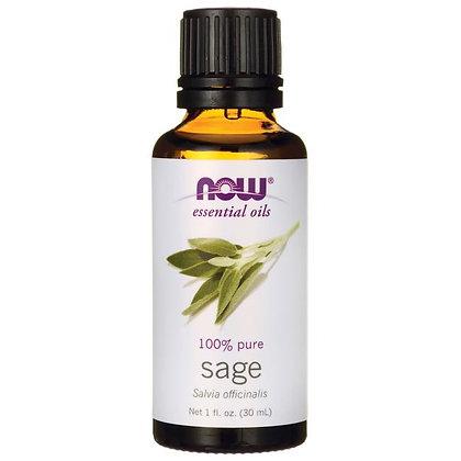 Sage Oil, 100% Pure, 1 fl. oz. (30 ml), NOW Essential Oils