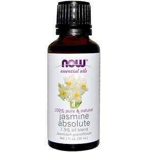 Jasmine Absolute, 7.5% oil blend, 1 fl oz (30 ml), NOW Essential oils