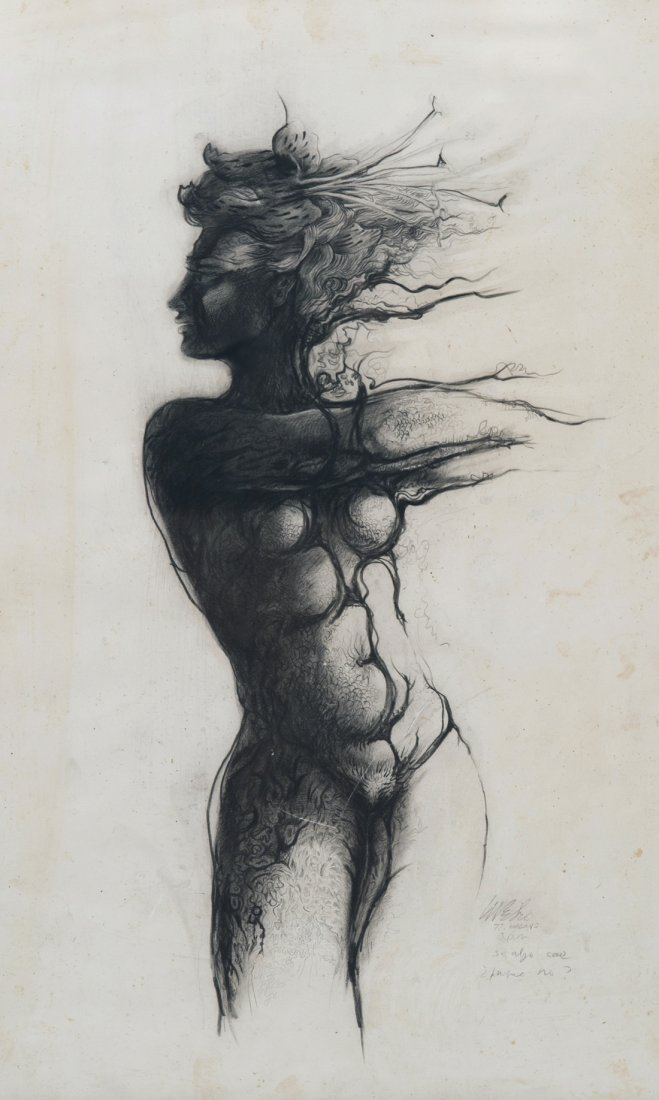 Martinez Pedro. Si algo cae. charcoal on paper. 21 x 13,5 in.$7,500