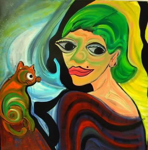 Ventura Fabiana. Mujer de verde. Mixed media on canvas