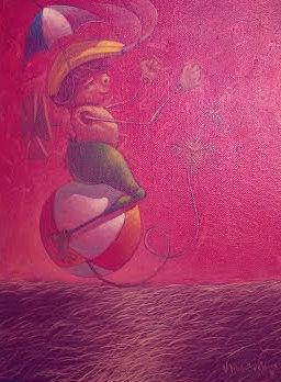 Bretana, Ulises. El vuelo de Matias. Oil on canvas. 9x11 inches.U$S900.