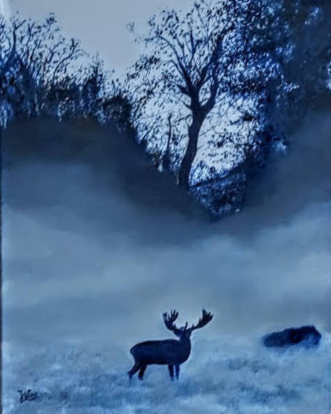 Ciervo en Dyrehaven - Azul