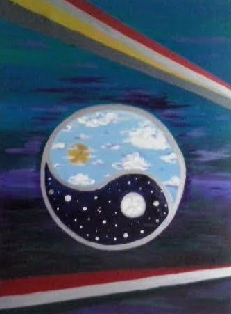 Moscoco Marisa. Cosmic Partners. Acrylic on canvas