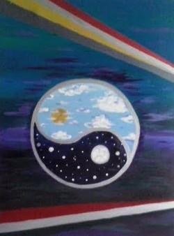 Moscoco Marisa. Cosmic Partners. Acrylic on canvas