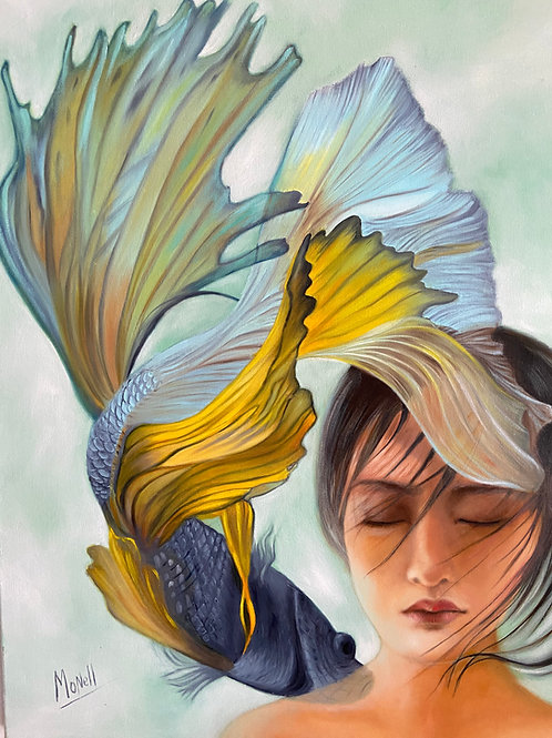 """""""Mujer y Pez Koi"""" by Monica Carbonell"""
