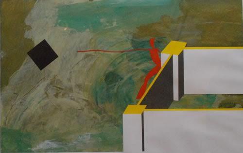 Wells Luis. Figura en el paisaje. Acrylic on paper.36 x 28 in. NFS
