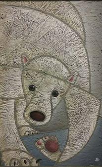 Azeta, Victor Hugo. Oso Polar. Mixed Media on wood. $550.-