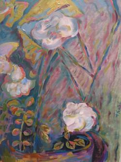 Hojas y rosas blancas - Oil on paper