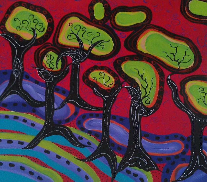 Ventura Fabiana, Bosque, un paisajito. Mixed media on canvas