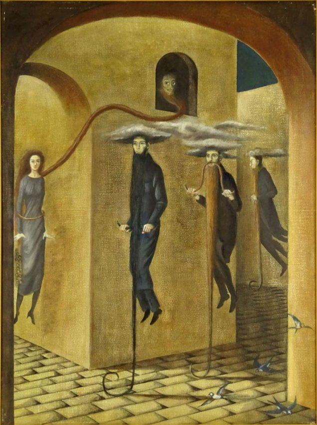 Chabarria Enrique.Tres hombres con barba y una mujer.Oil on canvas.32 x 24 in.$1,800.