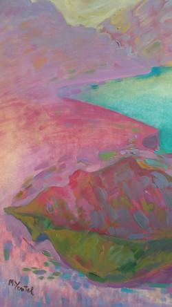 Un lago turqueza - Oil on paper