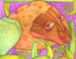 MS Art Gallery. Rana suspiros de flor:  Watercolor on Wood. 40 x 50 cm. 2008.