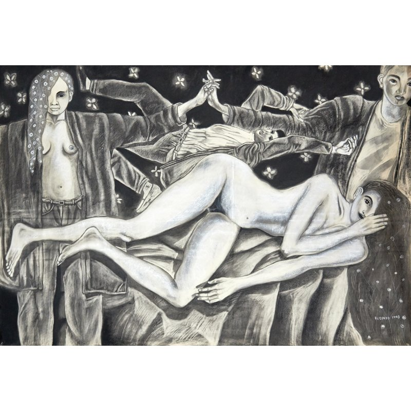 Elizondo Arturo.Untitled. Charcoal on paper. 50 x 72 in.$4,800