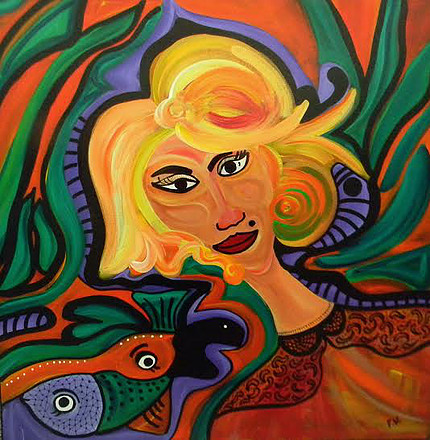 Mujer Inclinada. Mix Media on canvas