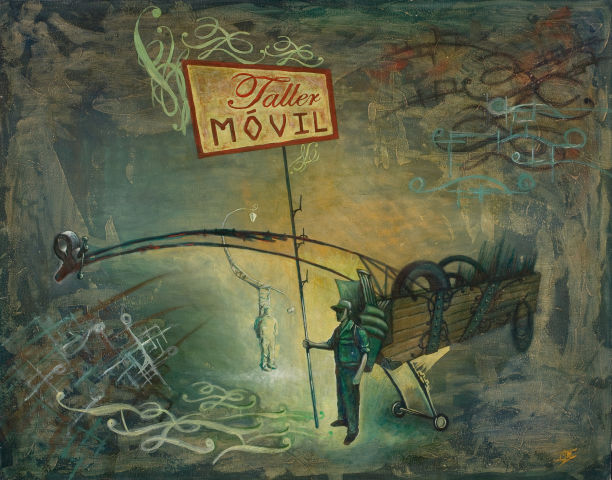 Menendez Juan Manuel. Taller Movil. Oil on canvas. 40 x 31,5 inches.$6,500.-