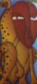 MS Art Gallery. El hombre que sonando en ser jaguar se convirtió en manzana. 35x 76cm Acrylic on Wood. 2008.