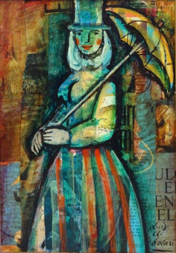 Solari, Luis.Paraguas.Collage on board.11,5 x 8,5 in.$1,000