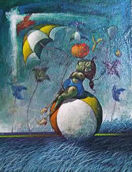 Bretana, Ulises.En cueros y en pelotas. Oil on canvas. 9,5x8 inches.U$S750.