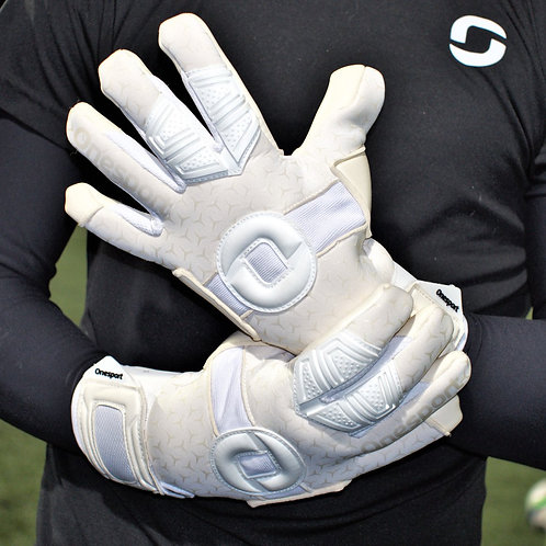 ONESPORT CANCERBERO NEGATIVE HYBRID GOALKEEPER GLOVES WHITE