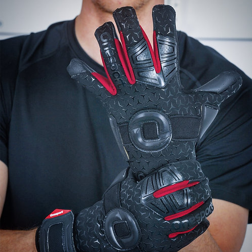 ONESPORT CANCERBERO NEGATIVE HYBRID GOALKEEPER GLOVES BLACK / RED