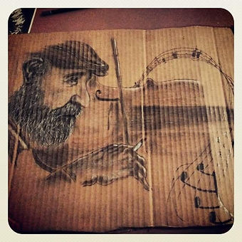 chopin and a cigarette-Pencil on cardboa