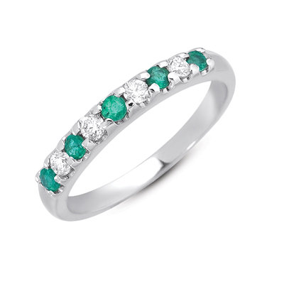 Emerald & Diamond White Gold Band