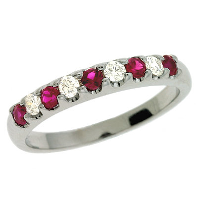 Ruby & Diamond White Gold Band