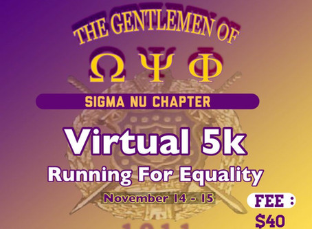 Running for Equality, Virtual 5k,                        (11/14/2020 7:11am - 11/15/2020 7:11pm)