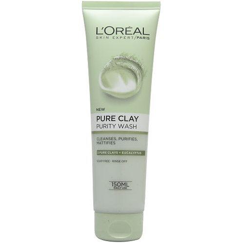 غسول البشرة Loreal Pure Clay Eucalyptus Purifies Gel Wash 150ml