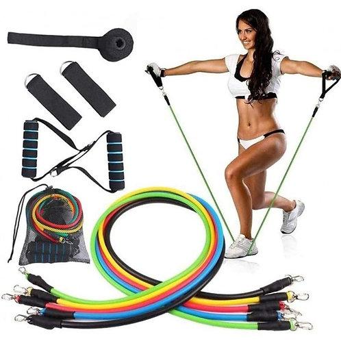 مجموعة أربطة المقاومة المرنة لكمال الأجسام ، مجموعة أحزمة اللياقة البدنية مع مرس