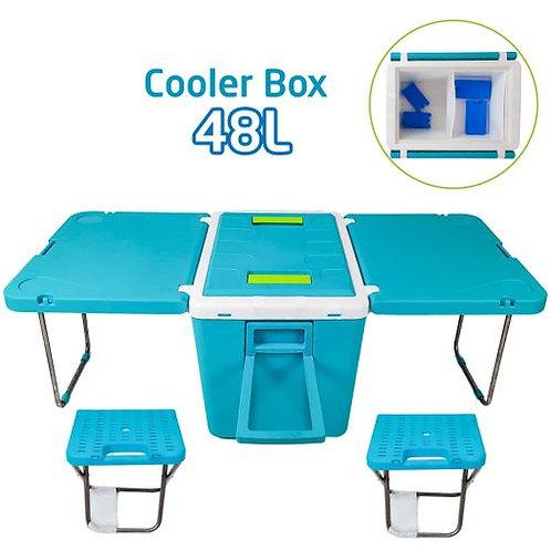Ferdi Plast Glacière De Camping Table Extensible 2 Tabourets 48L