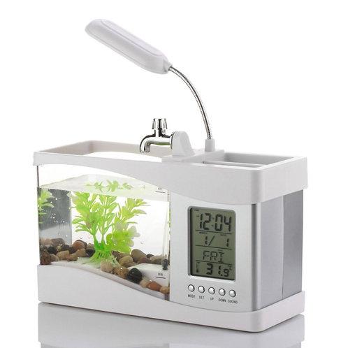 حوض أسماك وحامل للأغراض متعدد الإستعمالات مع مصباح ضوئي وساعة رقمية Mini Aquariu