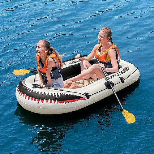 قارب الأطفال القابل للنفخ لـ 2 أشخاص مع مجادف طويلة لاستمتاع بأجواء الصيف مع أطف