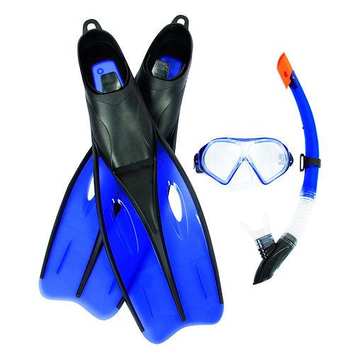 عدة السباحة الإحترافية بـ 3 قطع زعانف، قناع وأنبوب التنفس لسباحة مريحة وممتعة Hy