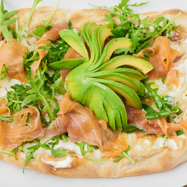 Smoked Salmon and Avocado Pinsa