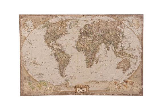Wereldkaart op linnen - Klein