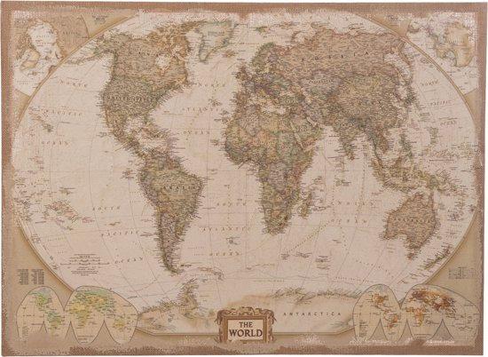 Wereldkaart op linnen - Medium