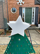 Coro Tree Star | This image shows our 3 dimensional star.   We were channeling Dr. Seuss when we created these.