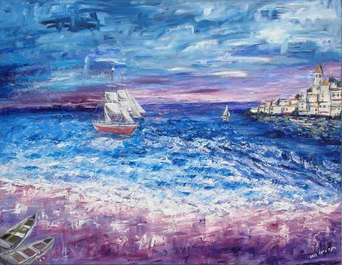140X110 ספינה בלב ים
