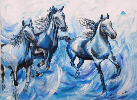 120X90 דהרת הסוסים