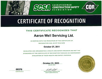 Aaron Well Servicing Ltd. COR Certificat