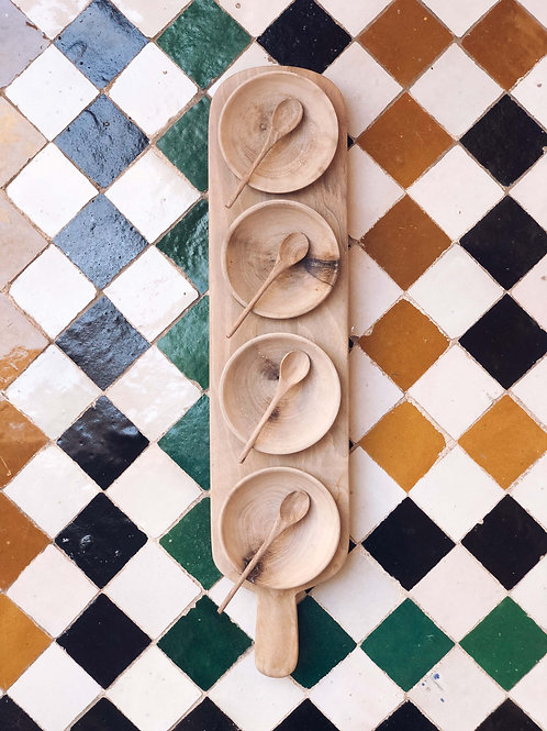 Apéro Service Tray with Wood Bowls