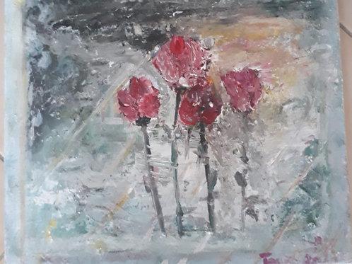 """Peinture """"Roses au couchant"""""""